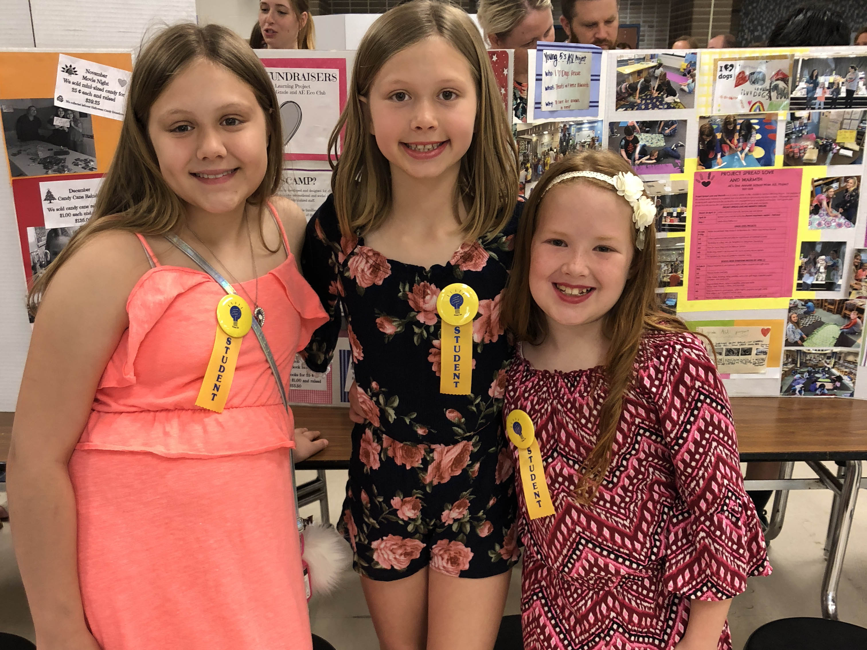 Three Andersonville Elementary girls pose with award ribbons