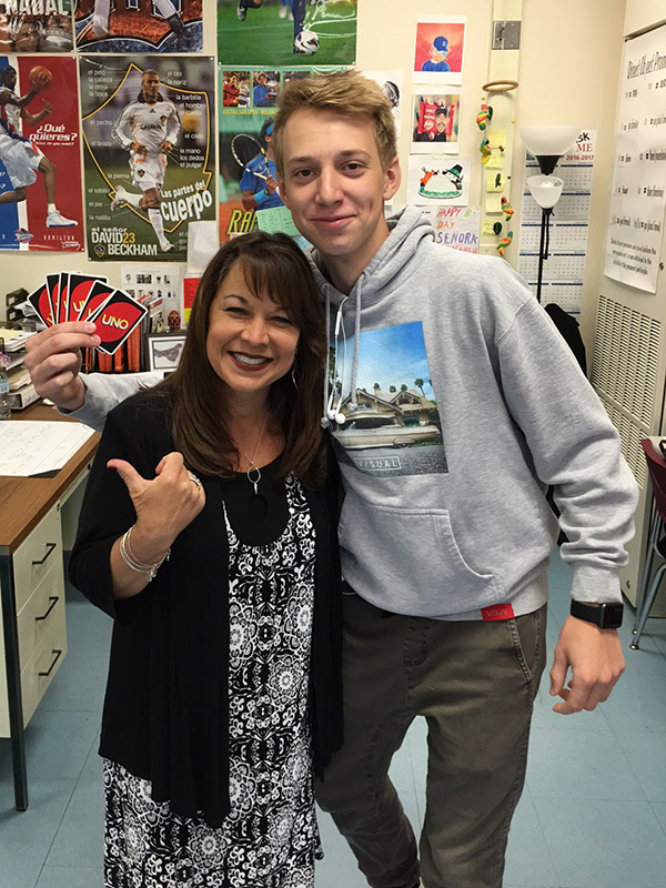 A CJHS Teacher and student
