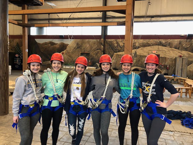 CHS students at a ropes course